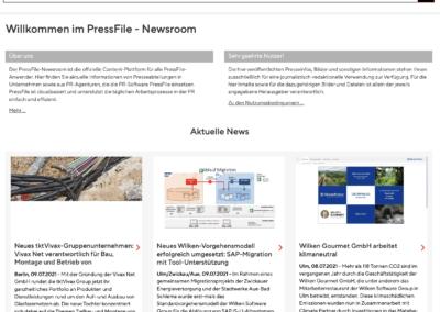 PressFile Newsroom: übersichtlich und strukturierte Informationen
